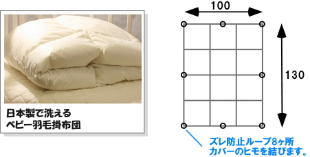日本製で洗える羽毛のベビー掛布団